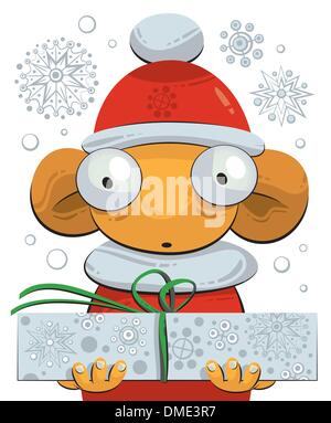Little gnome giving a Christmas present - Stock Photo