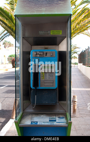 Public telephone, Fuerteventura, Canary Islands, Spain. - Stock Photo