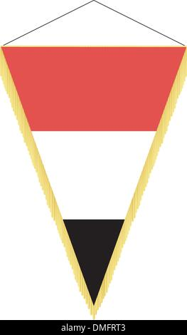 Vector image of a pennant with the national flag of Yemen - Stock Photo