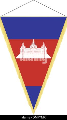 Vector image of a pennant with the national flag of Cambodia - Stock Photo