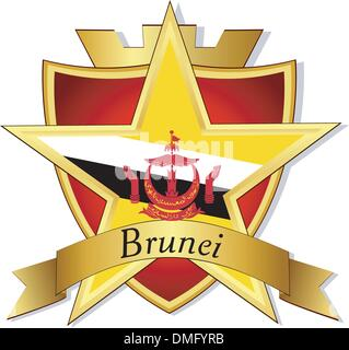Vector gold star to the flag of  Brunei on the background of the - Stock Photo
