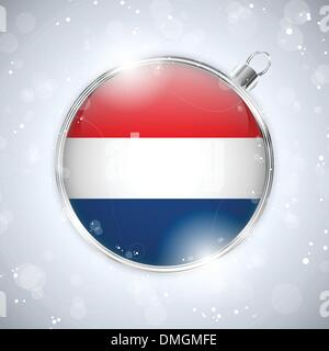 Merry Christmas Silver Ball with Flag Netherlands - Stock Photo