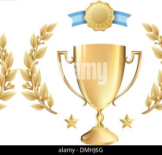 Vector Achievement Award Trophy and Laurel Wreath in Gold - Stock Photo