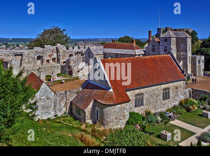 Carisbrooke Castle is a historic motte-and-bailey castle located in the village of Carisbrooke - Stock Photo