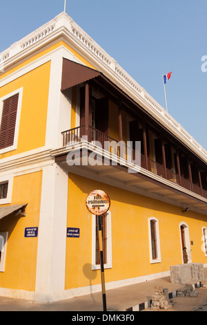 FACADE OF THE CONSULATE GENERAL OF FRANCE IN THE FRENCH QUARTER OF PONDICHERRY, FORMER FRENCH TRADING POST OF PONDICHERRY, - Stock Photo