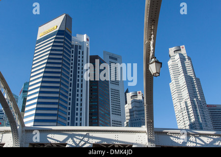 VIEW FROM THE ANDERSON BRIDGE OF THE BUILDINGS IN THE FINANCIAL DISTRICT OF SINGAPORE, CENTRAL BUSINESS DISTRICT, - Stock Photo