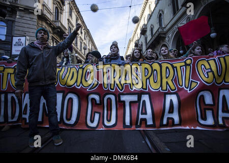 Turin, Italy. 14th Dec, 2013. Students demonstration against cuts to public school, in Turin, on December 14, 2013.IN - Stock Photo