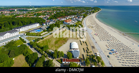View of Travemünde with Beach with spa resorts, Schleswig-Holstein, Germany - Stock Photo