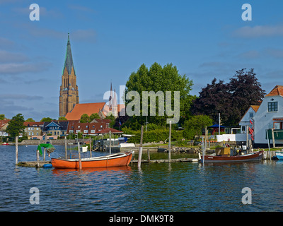 The Schlei with St. Peter Cathedral in Schleswig, Schleswig-Flensburg District , Schleswig-Holstein, Germany - Stock Photo