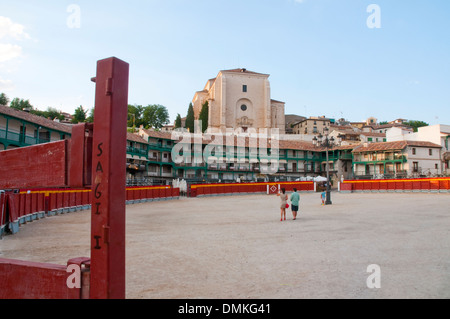 Main Square as a bullring. Chinchon, Madrid province, Spain. - Stock Photo