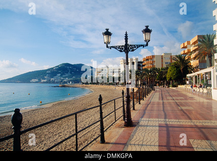 Promenade. Santa Eulalia des Riu, Ibiza island, Balearic Islands, Spain. - Stock Photo