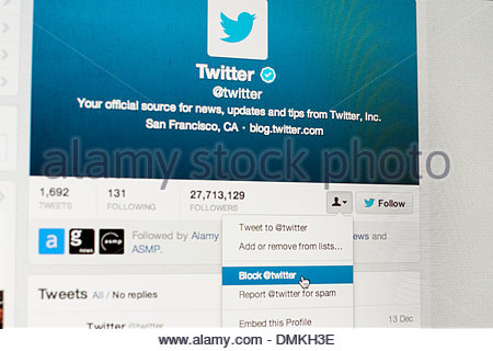 Thursday 12 December 2013: Twitter introduced, and later in the day withdrew, a change to its 'blocking' policy - Stock Photo
