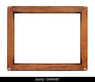 Flat plain wooden picture frame isolated on a white background - Stock Photo