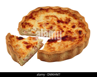 Quiche with a portion cut out isolated against a white background - Stock Photo