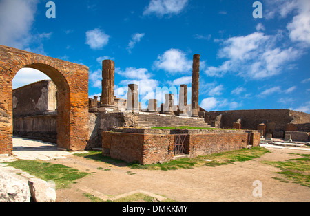 ancient Roman city of Pompeii, which was destroyed and buried by ash during the eruption of Mount Vesuvius in 79 - Stock Photo
