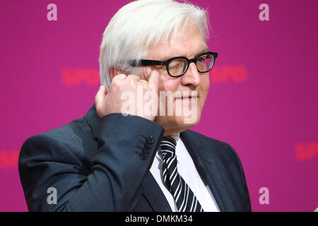 Berlin, Germany. 15th Dec, 2013. Frank-Walter Steinmeier, new foreign affairs minister, attends a press conference in Berlin, Germany, Dec. 15, 2013. Germany's Social Democratic Party (SPD) formally announced its cabinet members on Sunday, one day after party members voted to enter a grand coalition with Chancellor Angela Merkel's conservatives. Credit:  Zhang Fan/Xinhua/Alamy Live News Stock Photo
