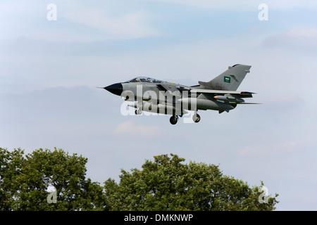 Panavia Tornado IDS 8306 of the Royal Saudi Air Force landing at RAF Conningsby - Stock Photo