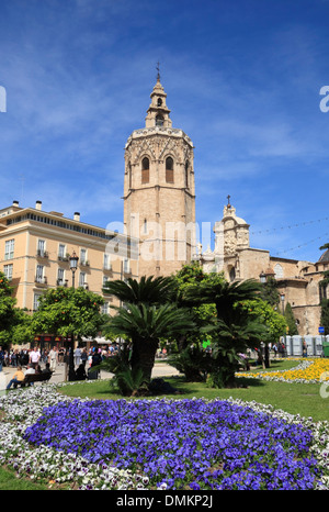 Plaza de la Reina with Torre Miguelete, Cathedral, Valencia, Spain, Europe - Stock Photo