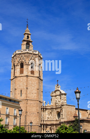 Torre Miguelete at Plaza de la Reina, Cathedral, Valencia, Spain, Europe - Stock Photo