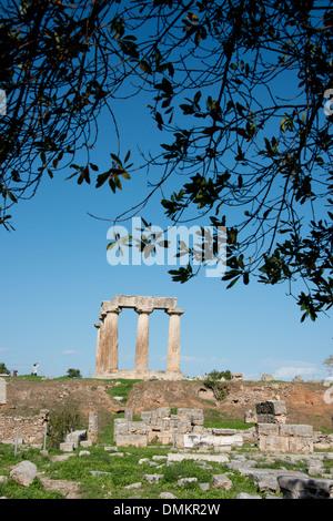Greece, Corinth, Ancient Corinth. Doric Temple of Apollo, c. 540 B.C. - Stock Photo