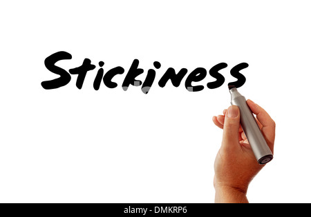 Closeup of a hand writing the word Stickiness (as in sticky online content) with a marker, possibly for an Internet - Stock Photo