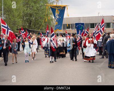 17th may Norwegian constitution day, celebrations in Nesodden outside Oslo, children's parade with flags - Stock Photo