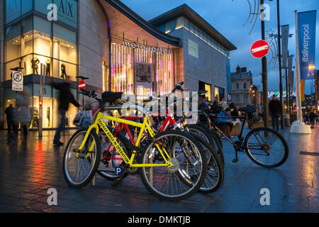 Liverpool One, Merseyside, UK 15th December, 2013. Tracker bikes in operation  Where big discounts being offered - Stock Photo