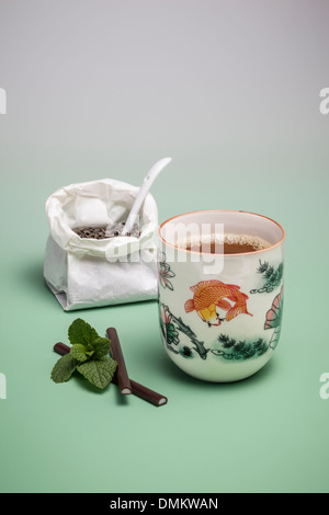 Green tea with fresh mint and mint chocolates - Stock Photo