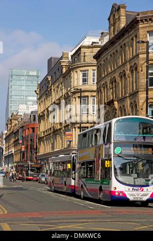 Deansgate (One Deansgate apartment block beyond), city centre, Manchester, UK - Stock Photo