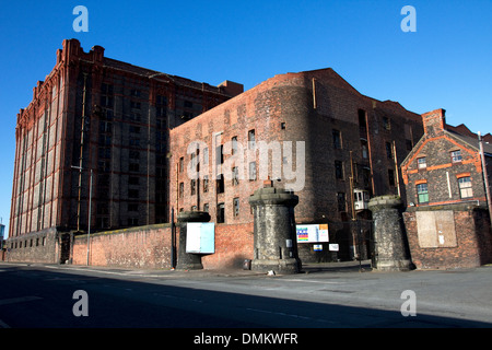 South Warehouse (1852-55) and Stanley Dock Tobacco Warehouse (1901) (left), Regent Road, Liverpool, Merseyside, - Stock Photo