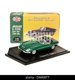 1:43 scale replica of the 1960's Jaguar E-type convertible sports car by Atlas Editions - Stock Photo