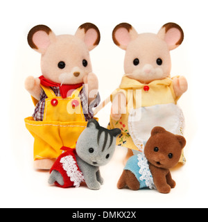 Collection of Sylvanian Families soft toys - Stock Photo