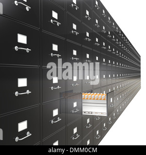 Massive wall of File Cabinets. Open drawer. Black. - Stock Photo