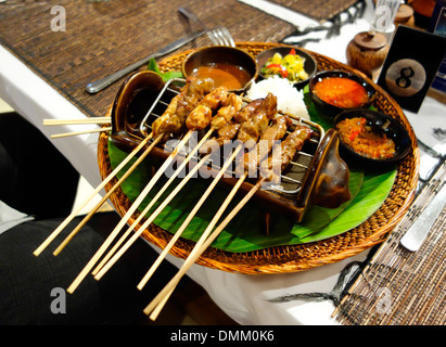 Indonesian Grilled Satay and spicy peanut sauce - Stock Photo
