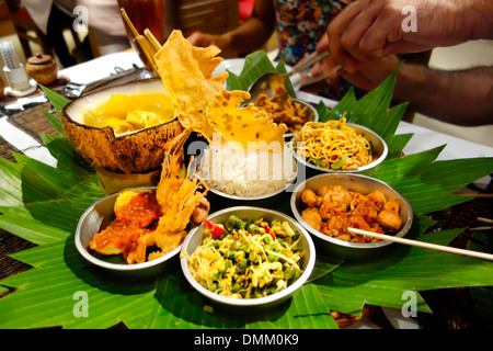 Spicy Asian dinner feast Bali Indonesia - Stock Photo