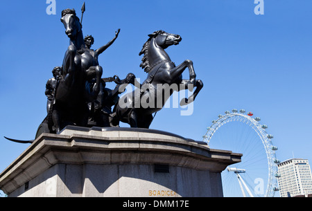 Queen Boudica/Boadicea Statue and the London Eye in Westminster. - Stock Photo