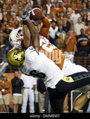 10 OCT 2009: Texas safety Blake Gideon picks off a Cody Hawkins pass at the Texas 15 yard line that was intended - Stock Photo