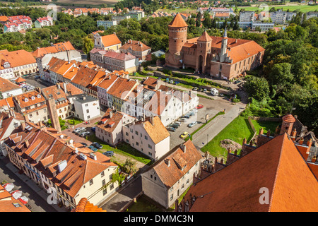 Old castle and Reszel Town - aerial view. Poland. - Stock Photo