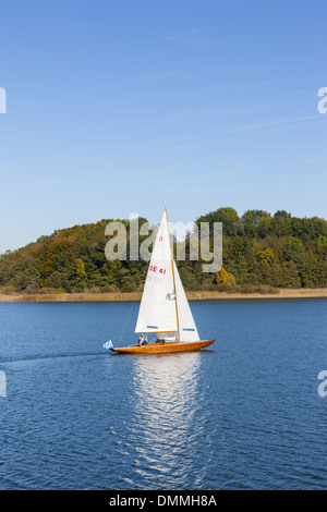 Germany, Bavaria, Chiemgau, Frauenchiemsee, sailing boat - Stock Photo