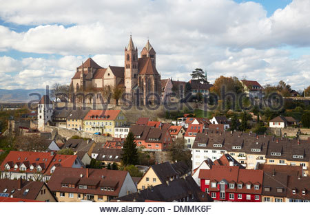 Germany, Baden-Wuerttemberg, Breisach am Rhein, view to Breisach Minster - Stock Photo