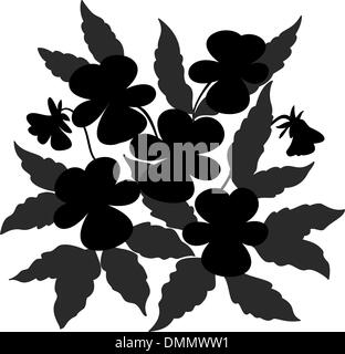 Flowers pansies contour - Stock Photo