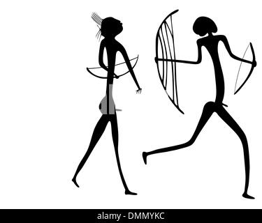warriors - primitive art - vector - Stock Photo