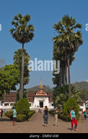 Vertical view of The Royal Palace or Haw Kham in Luang Prabang on a sunny day. - Stock Photo