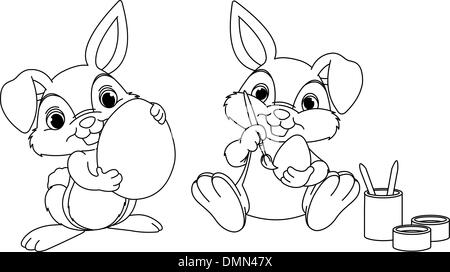 Easter Bunny Coloring Page Stock Vector Art Illustration Vector