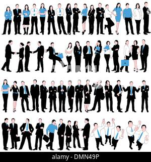 60 Business People Silhouettes Set isolated on white background - Stock Photo