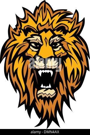Lion Head Graphic Mascot Illustration - Stock Photo