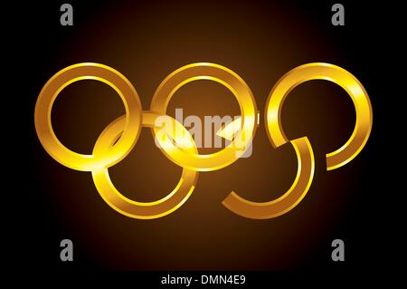 vector Olympic gold rings - Stock Photo