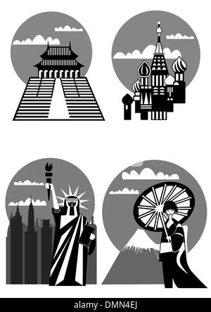 various famous landmarks - vector - Stock Photo