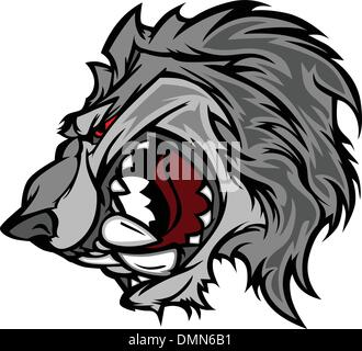 Wolf Mascot Vector Cartoon with Snarling Face - Stock Photo