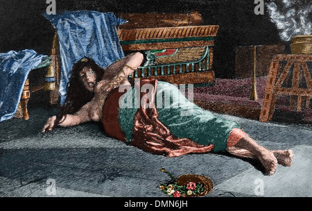 Cleopatra VII Philopator (69-30 BC). Queen of Egypt. The death of Cleopatra. Engraving, 1888. Colored. - Stock Photo